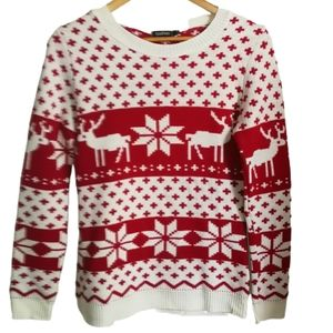 3/30$ BOOHOO Ugly Christmas Red & White Reindeer Knitted Crewneck Sweater Small